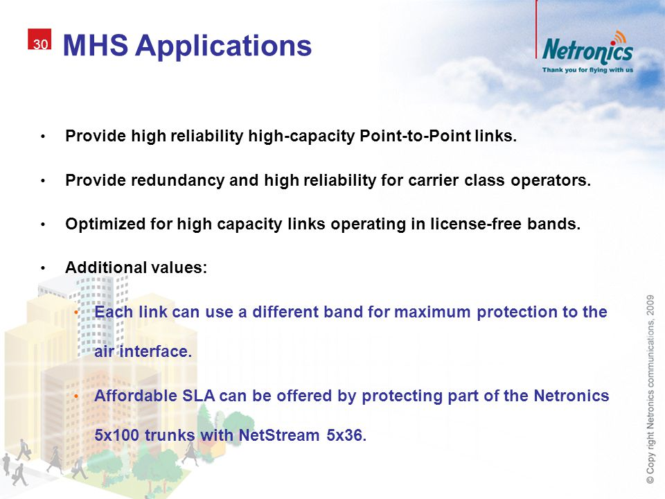 MHS Applications 30. Provide high reliability high-capacity Point-to-Point links.