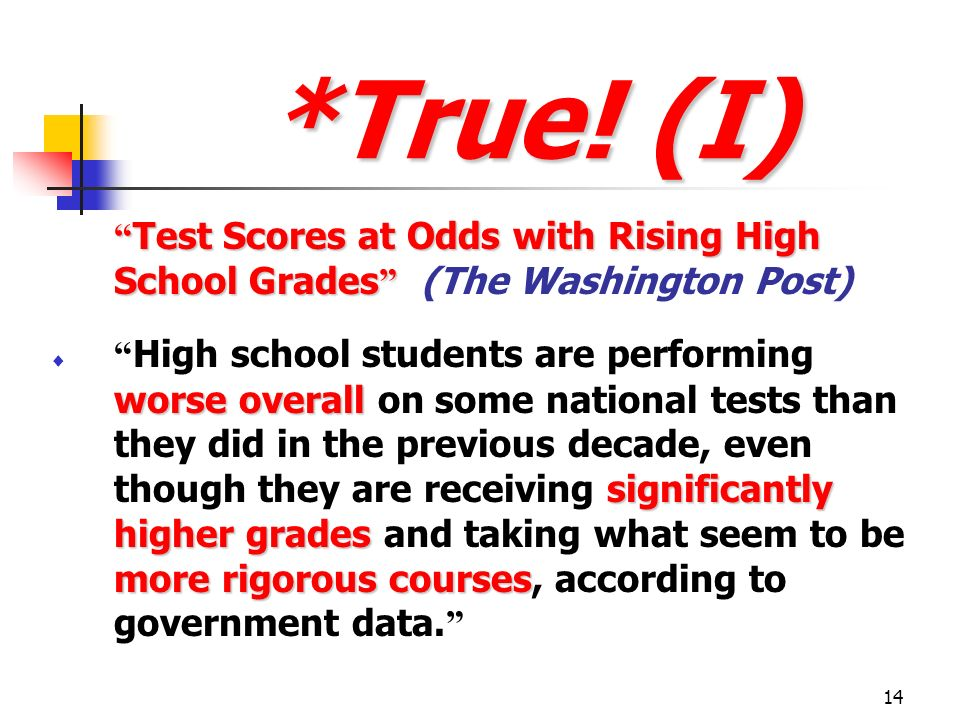 *True! (I) Test Scores at Odds with Rising High School Grades (The Washington Post)