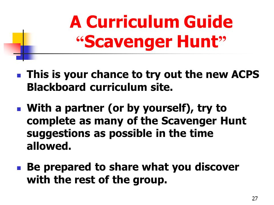 A Curriculum Guide Scavenger Hunt