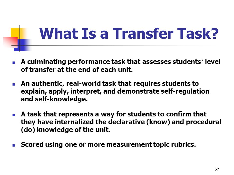 What Is a Transfer Task A culminating performance task that assesses students' level of transfer at the end of each unit.