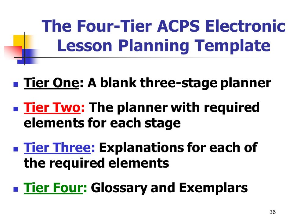 The Four-Tier ACPS Electronic Lesson Planning Template