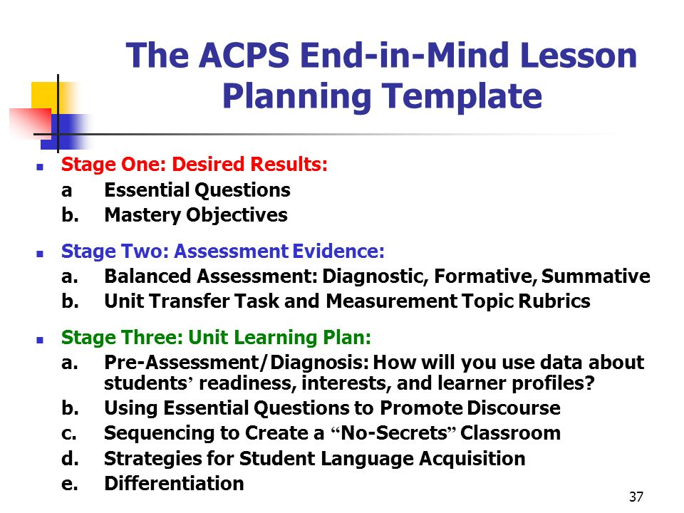 The ACPS End-in-Mind Lesson Planning Template