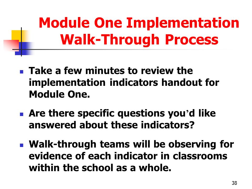 Module One Implementation Walk-Through Process