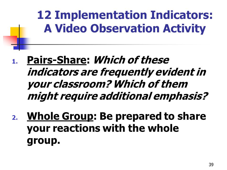 12 Implementation Indicators: A Video Observation Activity