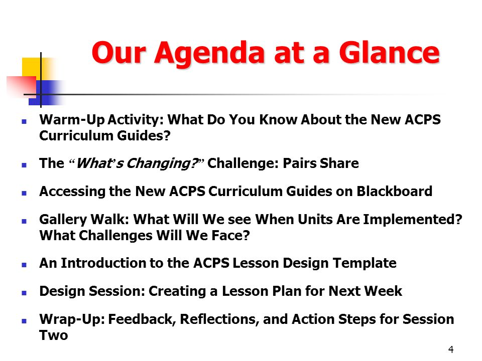 Our Agenda at a Glance Warm-Up Activity: What Do You Know About the New ACPS Curriculum Guides The What's Changing Challenge: Pairs Share.