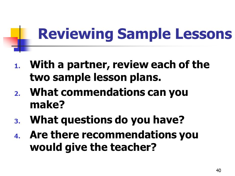Reviewing Sample Lessons