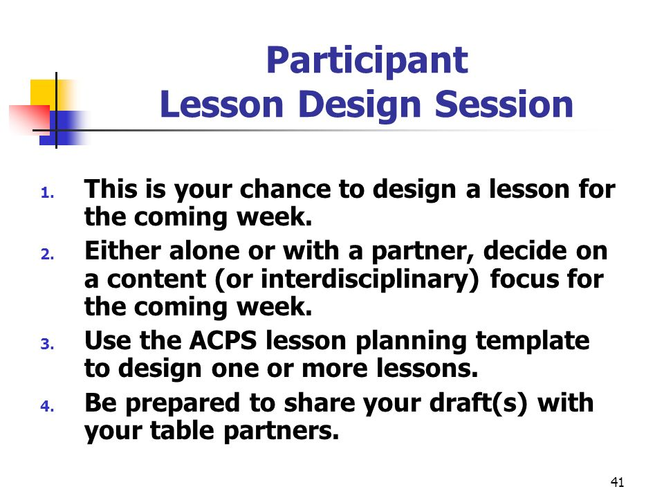 Participant Lesson Design Session