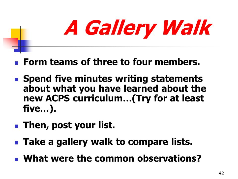 A Gallery Walk Form teams of three to four members.