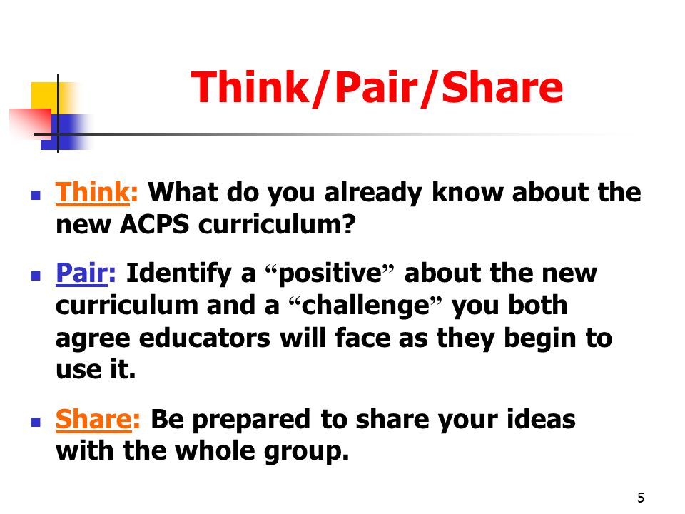 Think/Pair/Share Think: What do you already know about the new ACPS curriculum