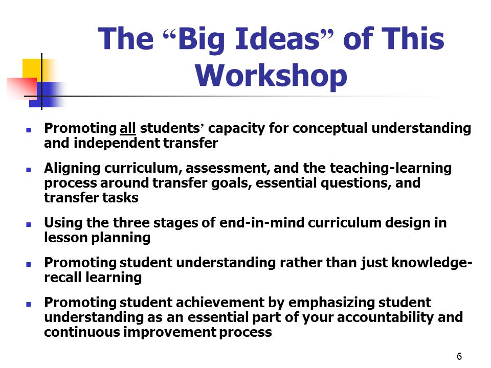 The Big Ideas of This Workshop