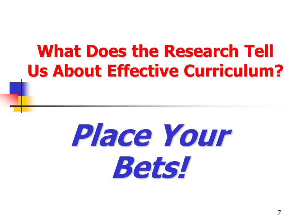 What Does the Research Tell Us About Effective Curriculum