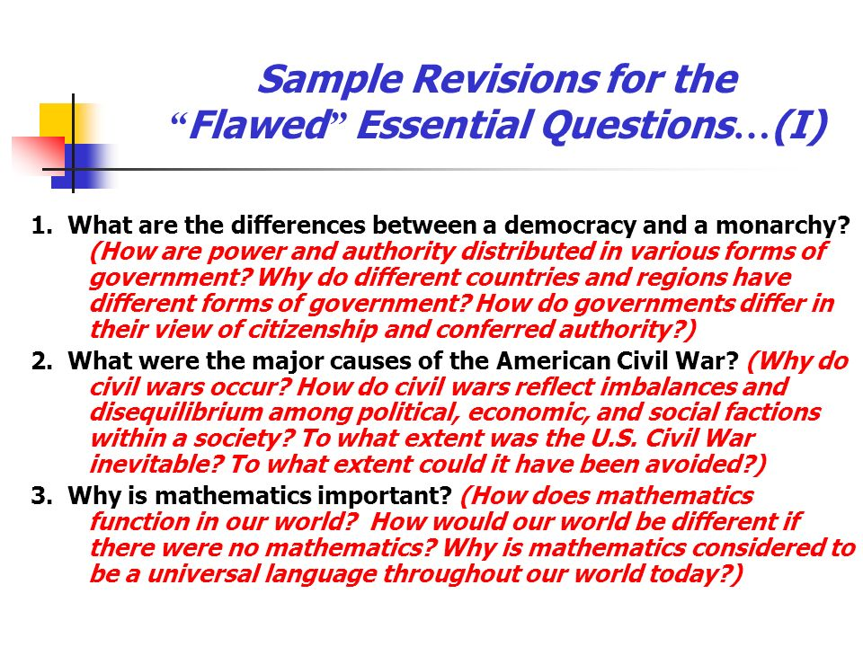 Sample Revisions for the Flawed Essential Questions…(I)