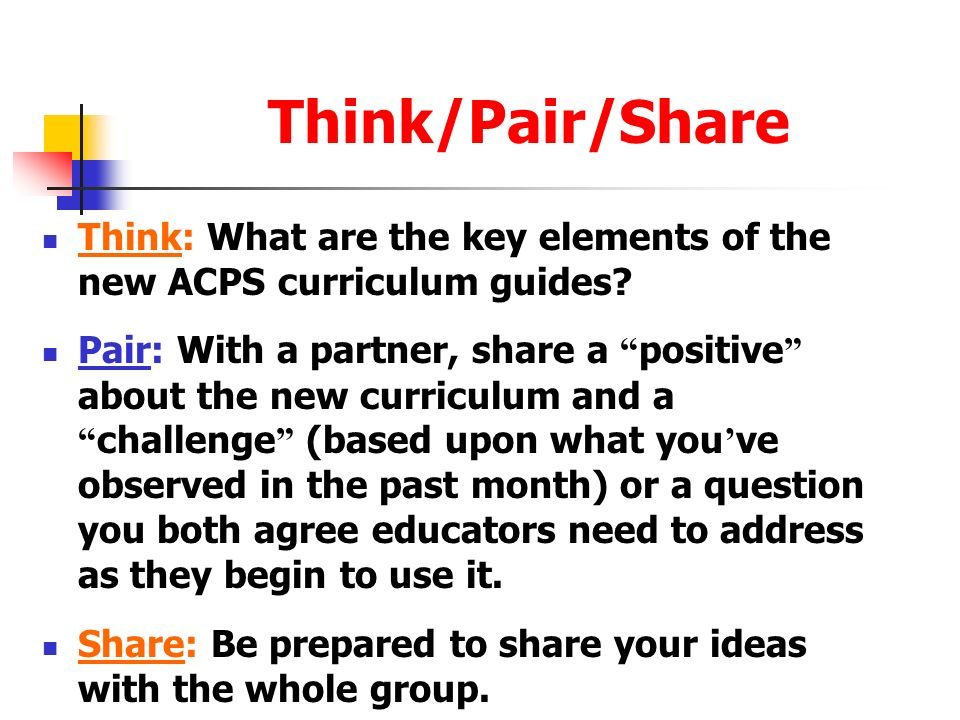 Think/Pair/Share Think: What are the key elements of the new ACPS curriculum guides