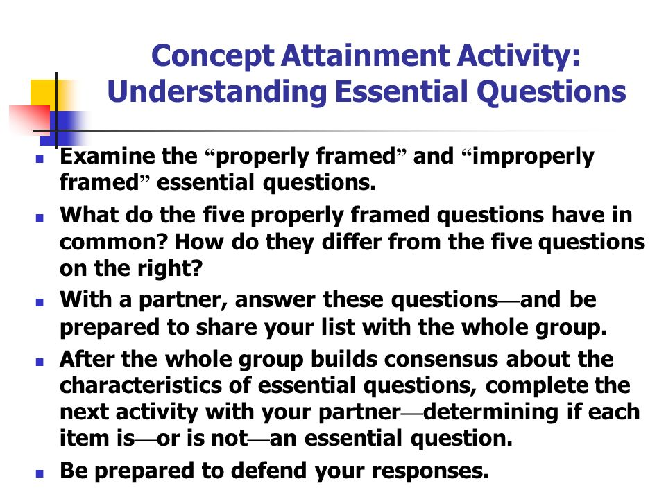 Concept Attainment Activity: Understanding Essential Questions