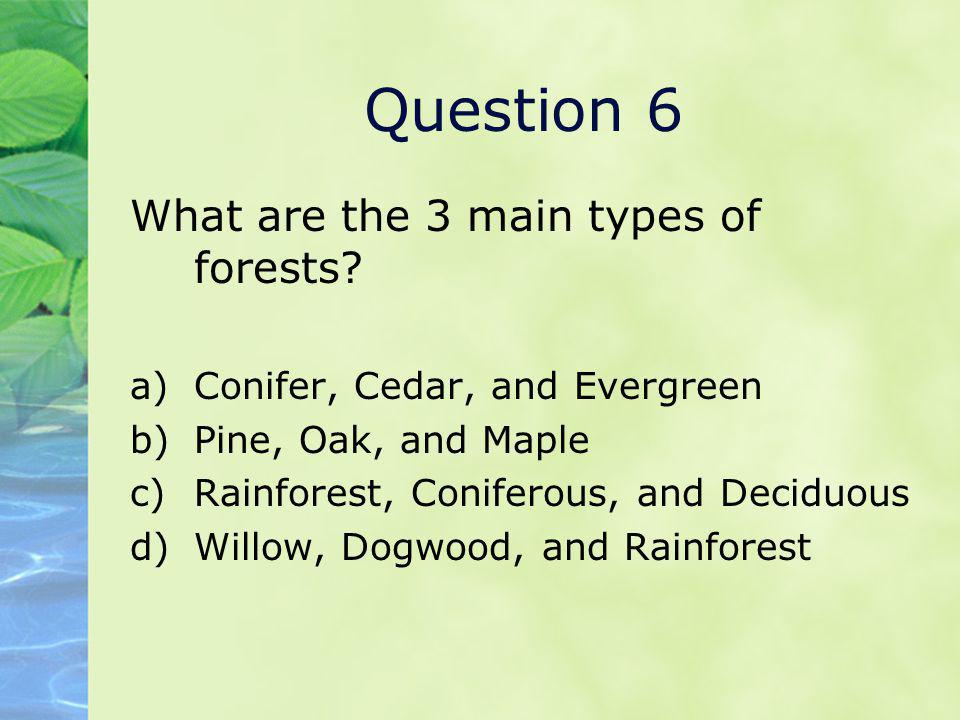 Question 6 What are the 3 main types of forests