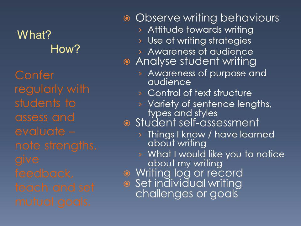 Observe writing behaviours