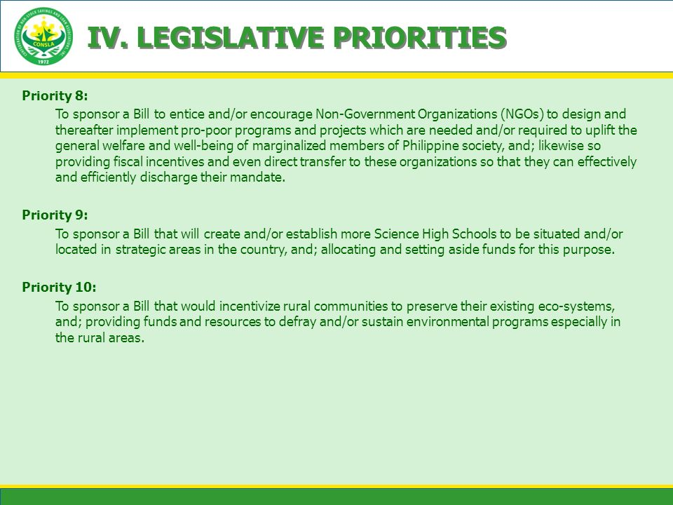 IV. LEGISLATIVE PRIORITIES