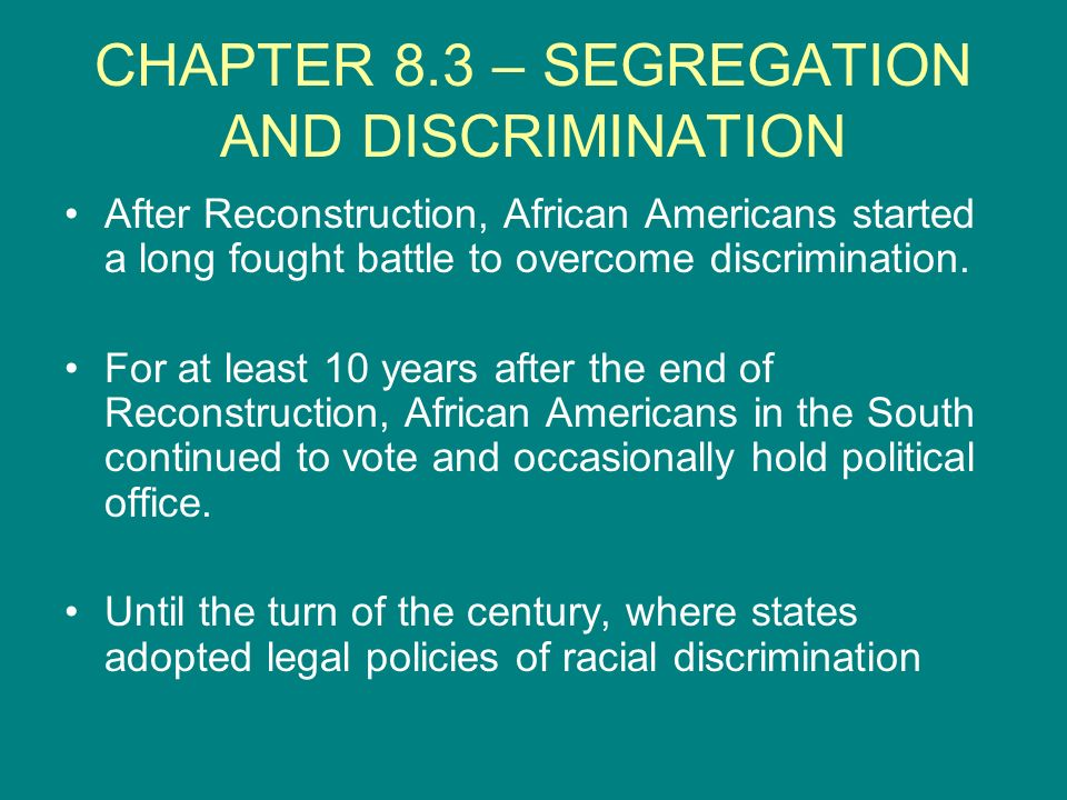 CHAPTER 8.3 – SEGREGATION AND DISCRIMINATION