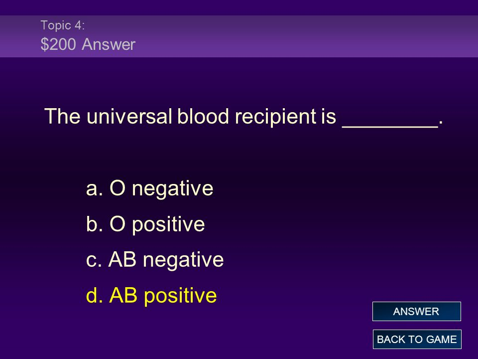 The universal blood recipient is ________.
