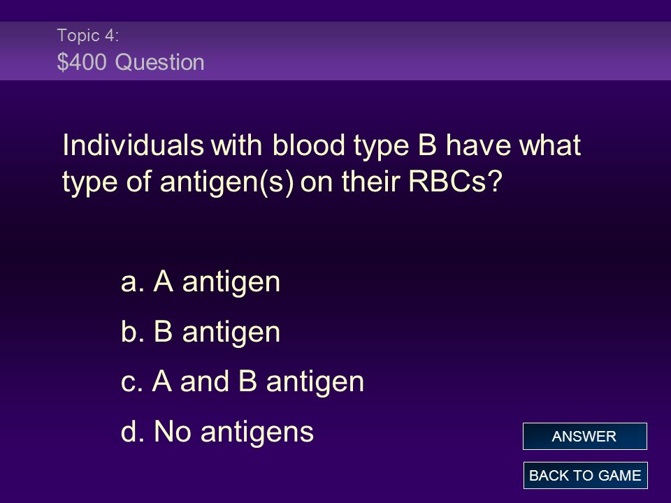 Topic 4: $400 Question Individuals with blood type B have what type of antigen(s) on their RBCs a. A antigen.