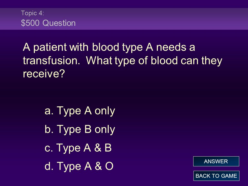Topic 4: $500 Question A patient with blood type A needs a transfusion. What type of blood can they receive