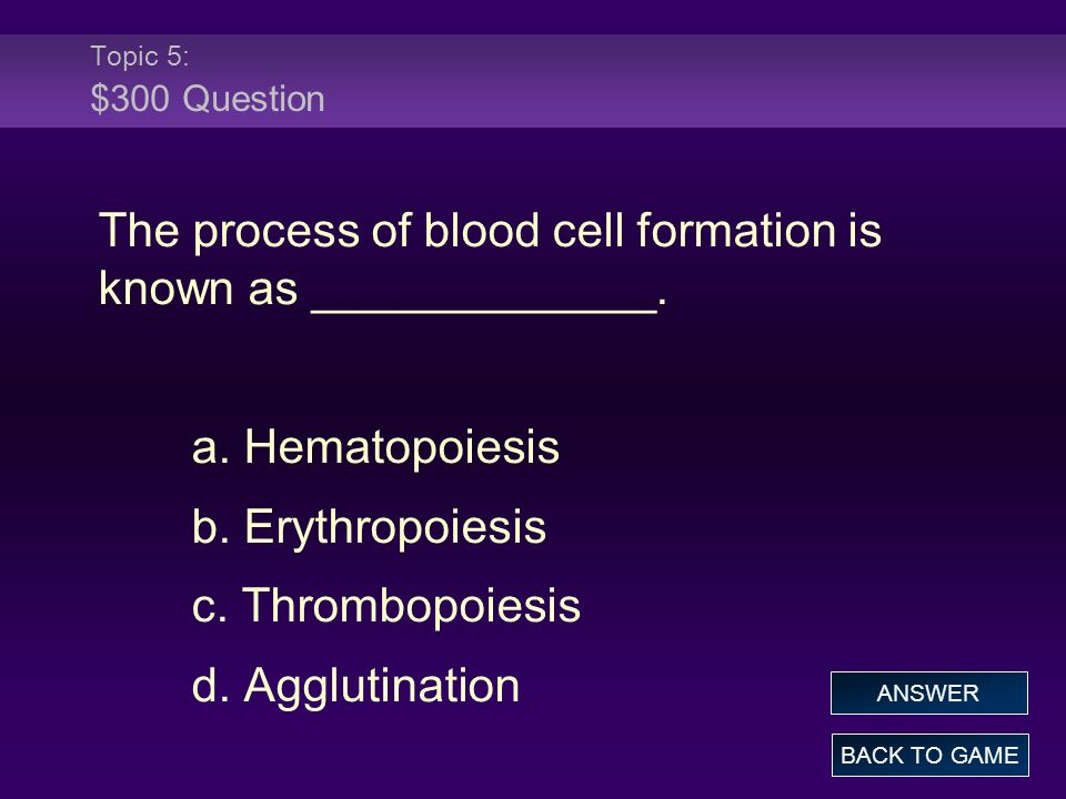 The process of blood cell formation is known as _____________.