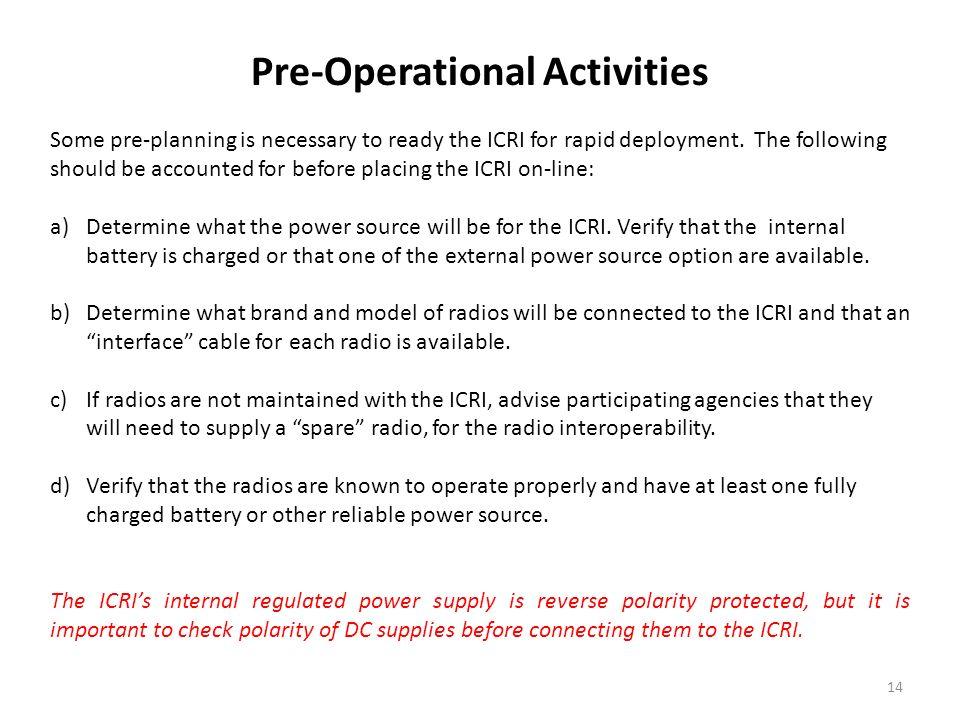 Pre-Operational Activities
