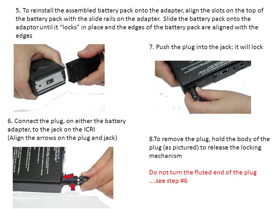 5. To reinstall the assembled battery pack onto the adapter, align the slots on the top of the battery pack with the slide rails on the adapter. Slide the battery pack onto the adaptor until it locks in place and the edges of the battery pack are aligned with the edges