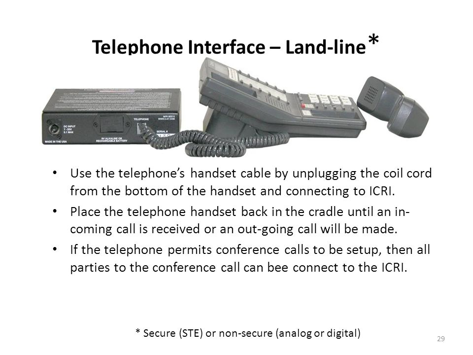 Telephone Interface – Land-line*