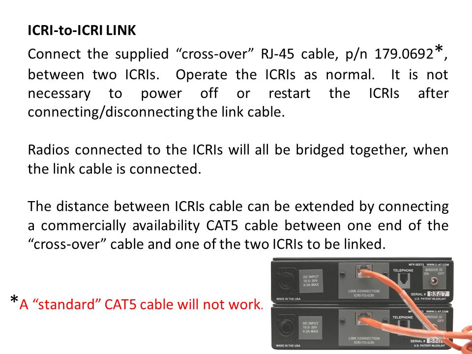 *A standard CAT5 cable will not work.
