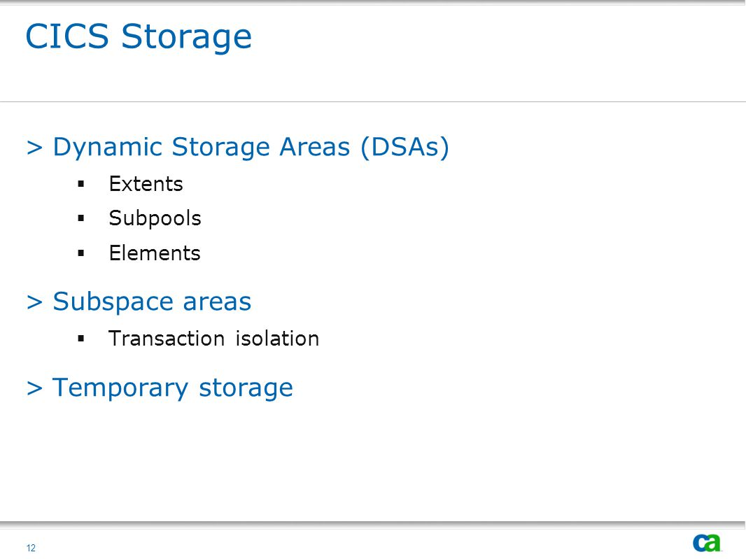 CICS Storage Dynamic Storage Areas (DSAs) Subspace areas