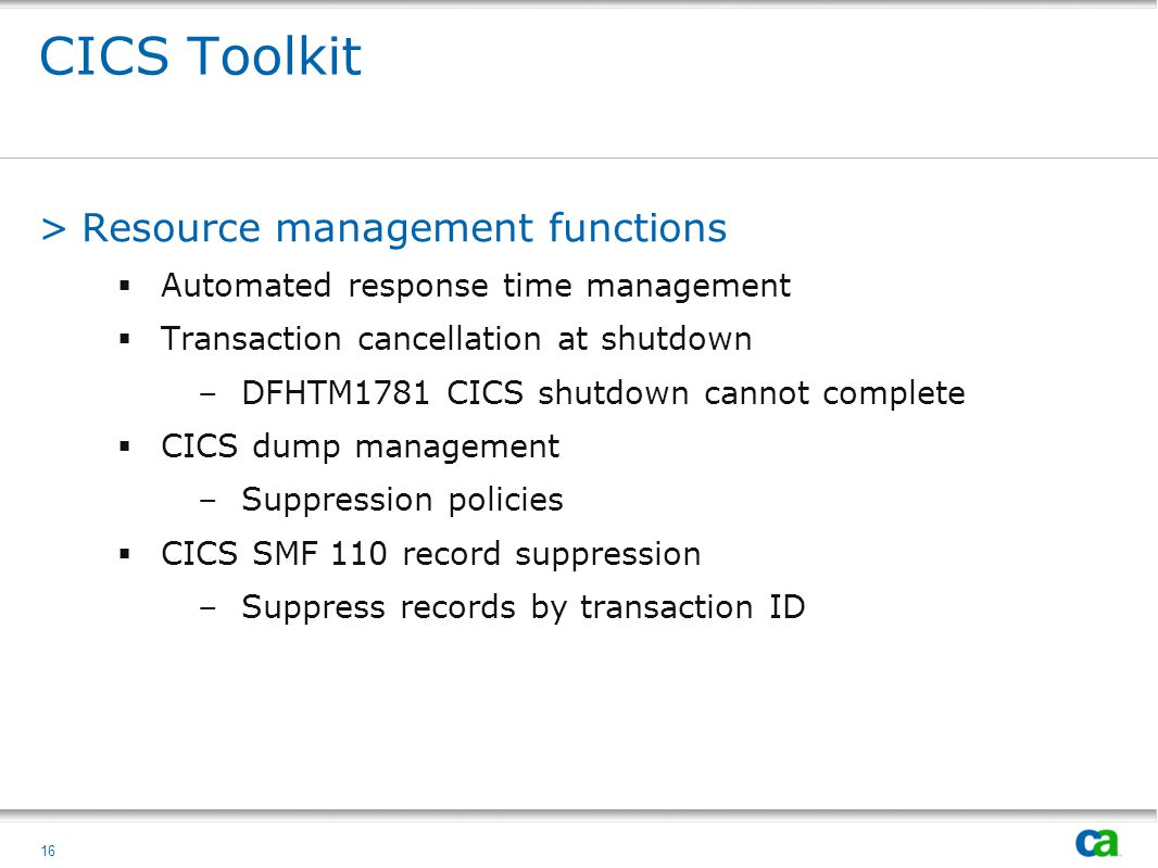 CICS Toolkit Resource management functions
