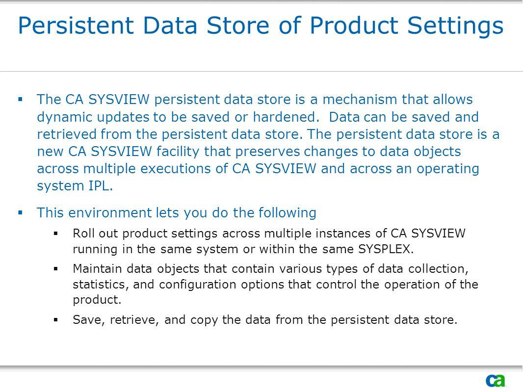 Persistent Data Store of Product Settings