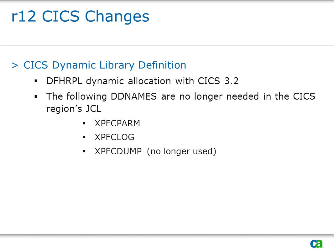 r12 CICS Changes CICS Dynamic Library Definition