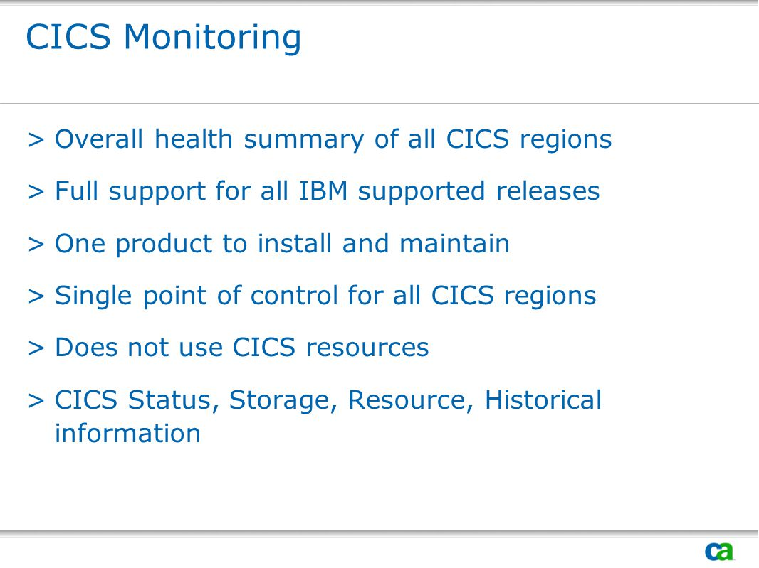 CICS Monitoring Overall health summary of all CICS regions