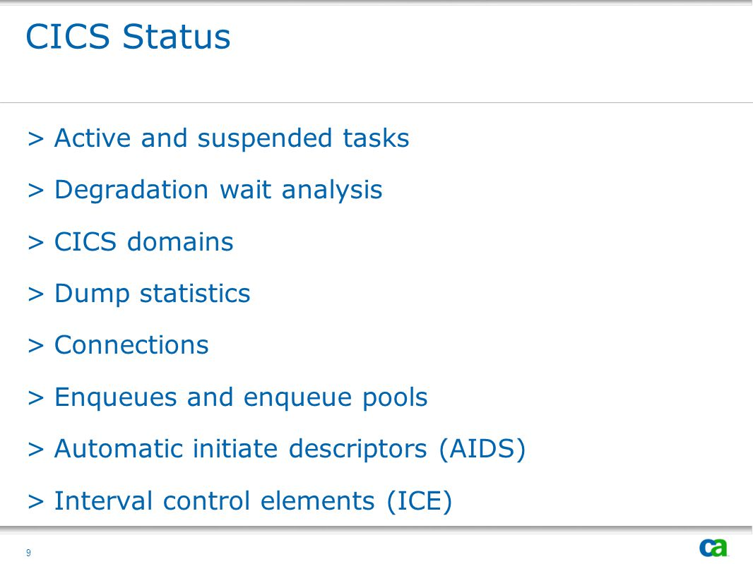 CICS Status Active and suspended tasks Degradation wait analysis