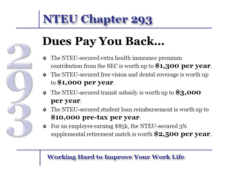 Dues Pay You Back… The NTEU-secured extra health insurance premium contribution from the SEC is worth up to $1,300 per year.