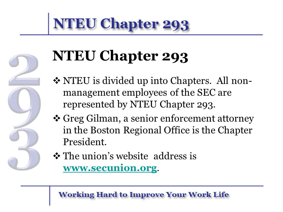 NTEU Chapter 293 NTEU is divided up into Chapters. All non-management employees of the SEC are represented by NTEU Chapter 293.