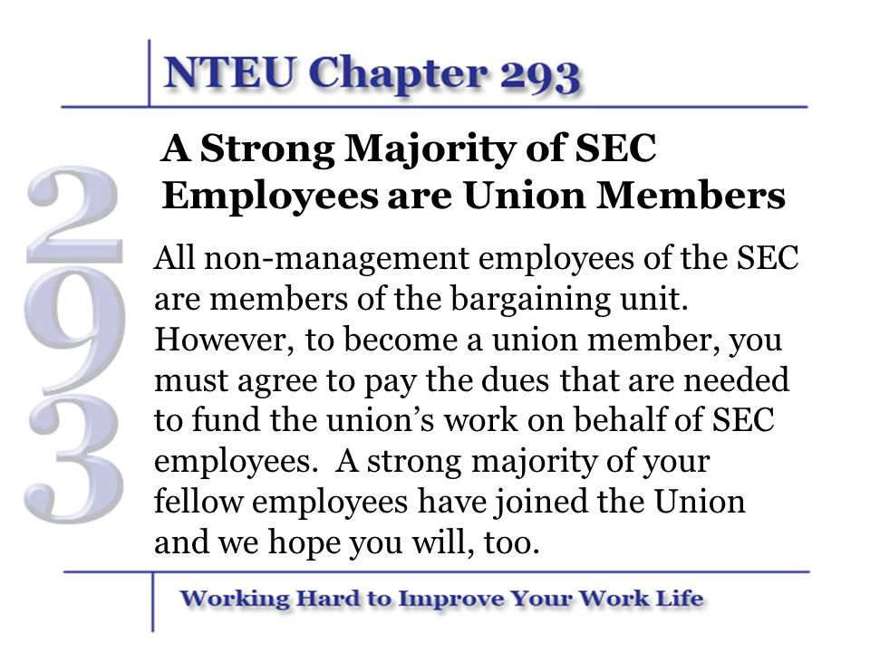 A Strong Majority of SEC Employees are Union Members
