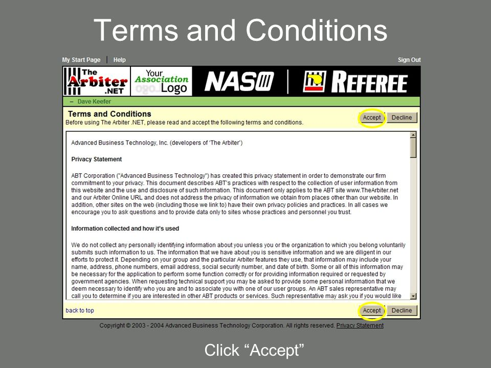 Terms and Conditions Click Accept 4/7/2017