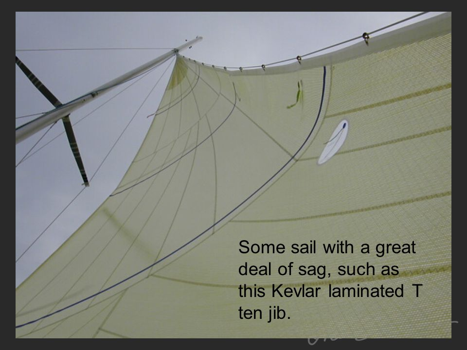 Some sail with a great deal of sag, such as this Kevlar laminated T ten jib.