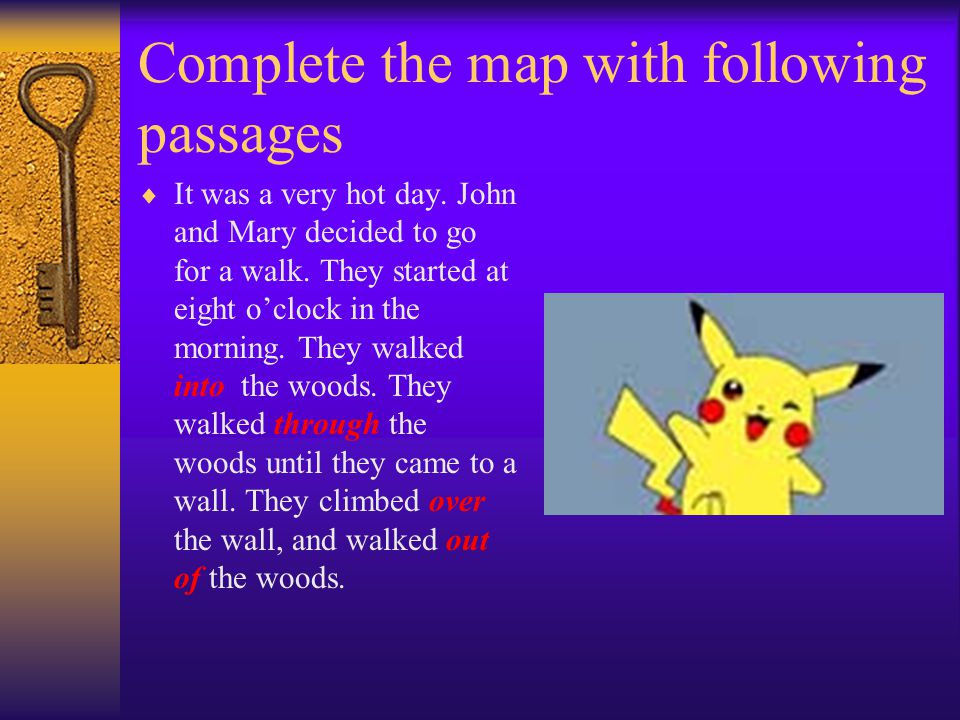 Complete the map with following passages