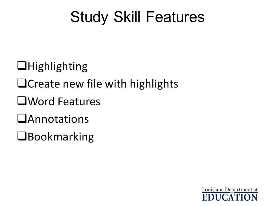 Study Skill Features Highlighting Create new file with highlights
