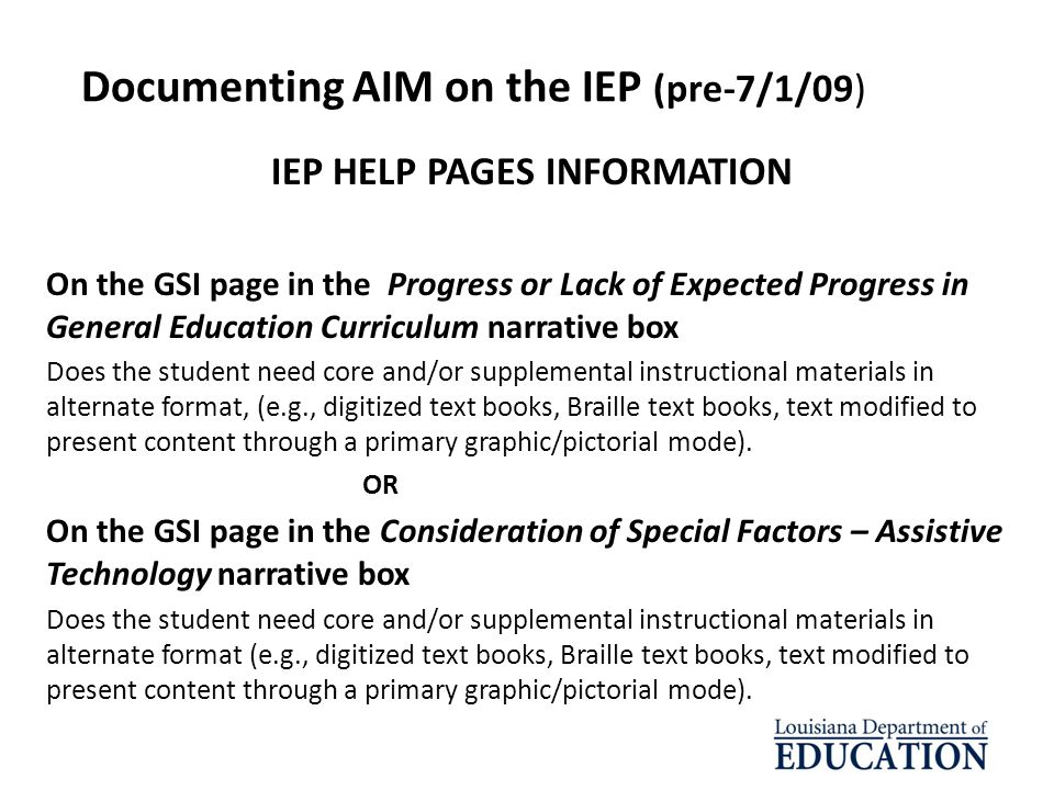 Documenting AIM on the IEP (pre-7/1/09)