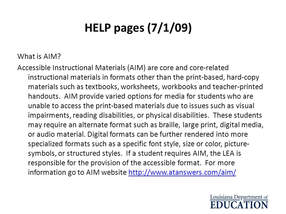 HELP pages (7/1/09) What is AIM