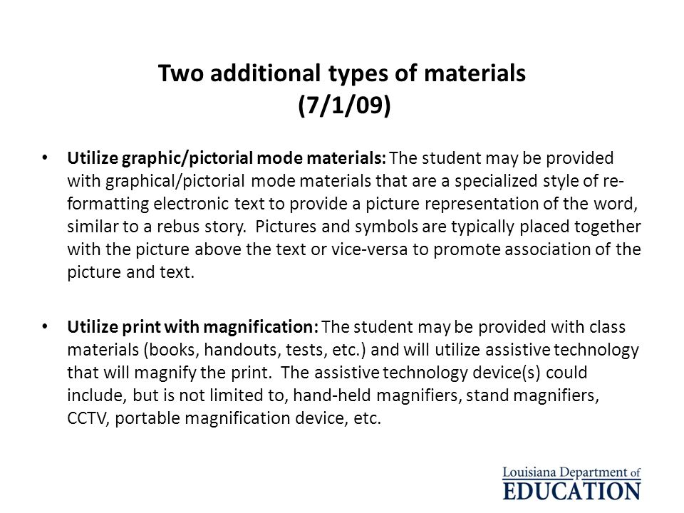 Two additional types of materials (7/1/09)