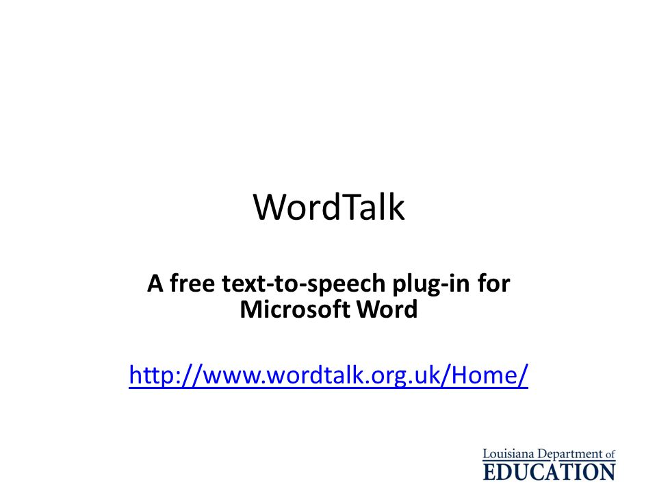 A free text-to-speech plug-in for Microsoft Word