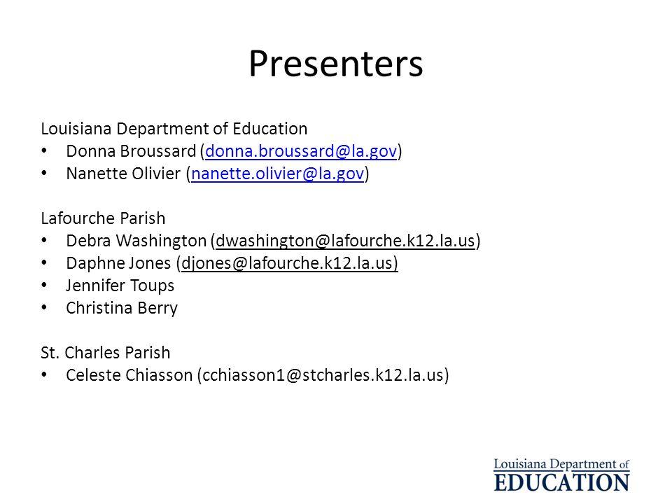 Presenters Louisiana Department of Education