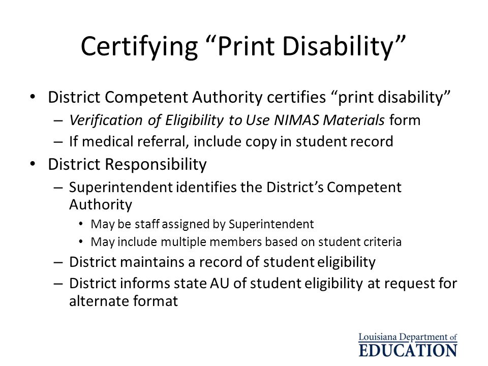 Certifying Print Disability