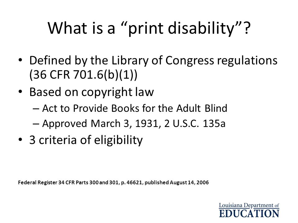 What is a print disability